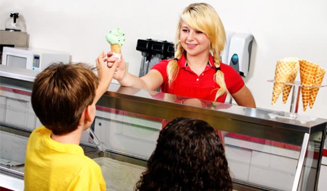 vendas de sorvetes: atendimento